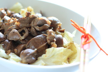 Chinese cuisine, chicken gizzard and cabbage stir-fried