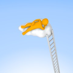 Man lying on cloud in the sky. 3d rendered illustration.
