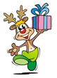 reindeer with gift dancing