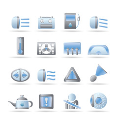 Car Dashboard - realistic vector icons set