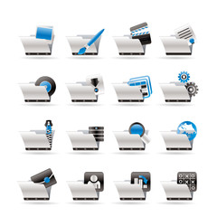 Computer and Phone Icons - Folders - Vector Icon Set