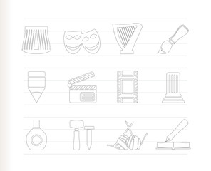 Different kind of art icons - vector icon set