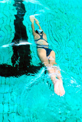 Swimmer into pool