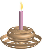 Golden candlestick with burning candle in pink