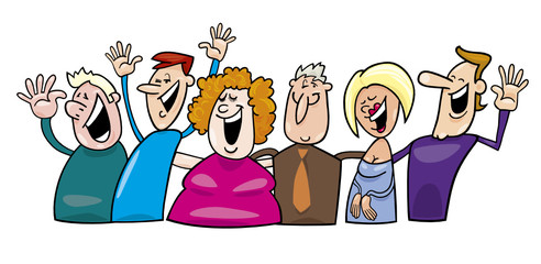 group of cheerful people