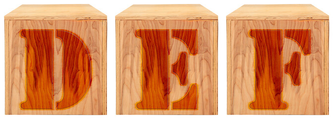 Wood Engraved Alphabet Blocks  D E F