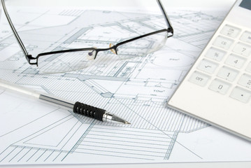 calculator and blueprint