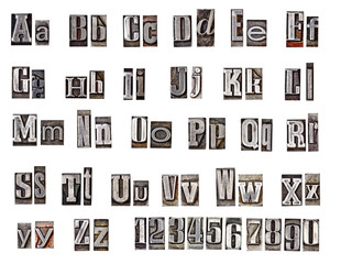 alphabet made from metal letters
