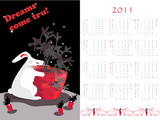 Double-sided calendar  2011,  vector illustration.