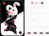Double-sided calendar cat/rabbit 2011,  vector illustration.