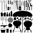 BBQ Barbecue Set Silhouette Vector