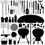 Fototapety BBQ Barbecue Set Silhouette Vector