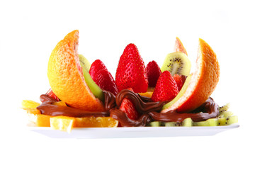 fruits salad in chocolate