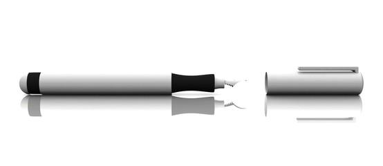 3D - Füllfederhalter - Blanko Silber