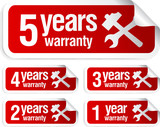 red vector warranty stickers set poster