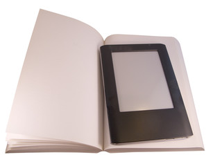 Ereader on book isolated on white