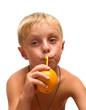 Child with an orange.