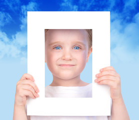 Little Cute Boy Holding Frame Picture