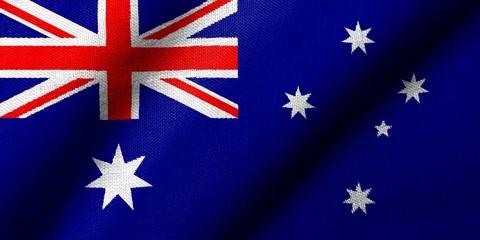 3D Flag of Australia waving