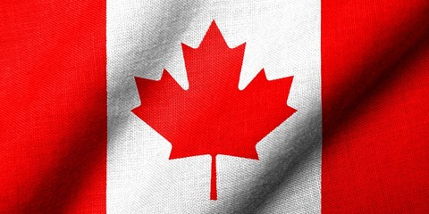 3D Flag of Canada waving
