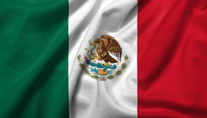 3D Flag of  Mexico satin