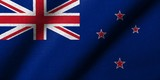 3D Flag of New Zealand waving