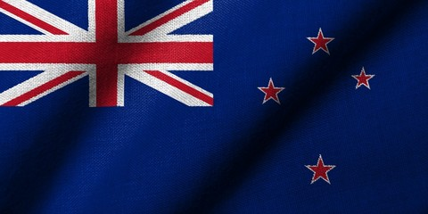 3D Flag of New Zealand waving