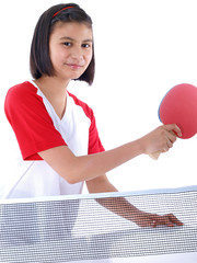 cute girl playing table tennis