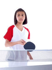 cute girl waiting to play table tennis