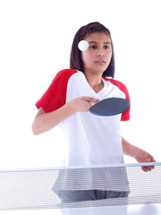 cute girl playing table tennis caught unprepared by the ball