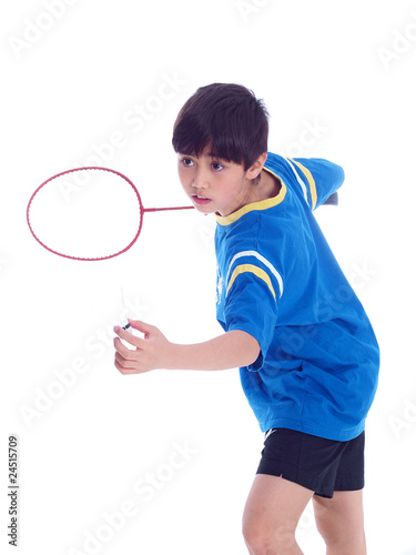 cute boy playing badminton
