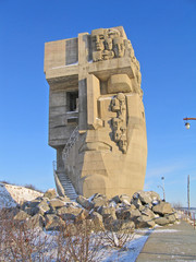 Grief mask, monument to victims of political reprisals, Magadan.