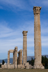 Ancient Temple of Olympian Zeus in Athens Greece on blue sky bac