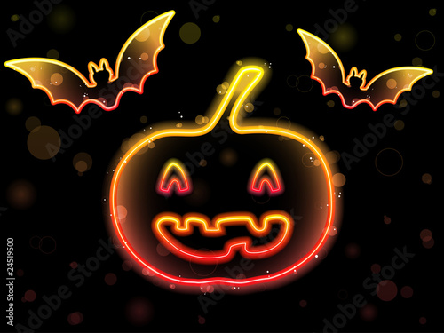 Halloween Neon Background with Pumpkin and Bats
