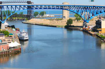 Mouth of the Cuyahoga River in Cleveland, Ohio