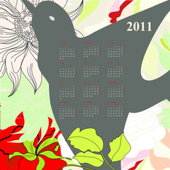 Calendar for 2011 with bird