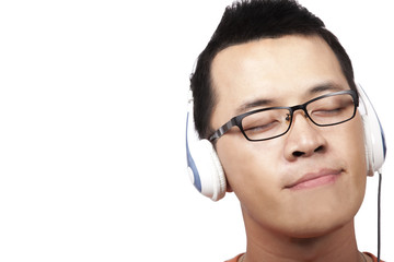 young man listen and enjoy the music
