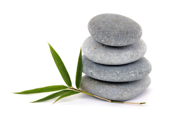 Spa still life-stacked stone and bamboo leaf