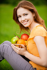 Girl with basket apples