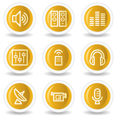 Media web icons, yellow glossy circle buttons