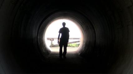 Man walks in tunnel - HD