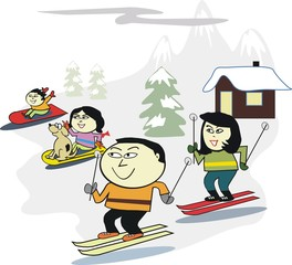 Asian family skiing cartoon