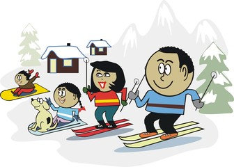 African family snow sport cartoon