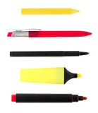 Writing implements isolated on white background poster