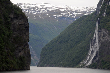 Seven Sisters waterfall on Geirangerfjord