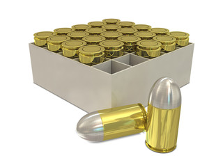 Group of bullets in holder on white background