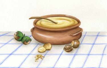 Ciotola di crema alla nocciola: acquerello