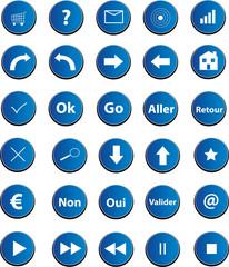 boutons web bleu foncé