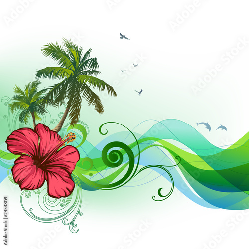 Hibiscus, palms, waves