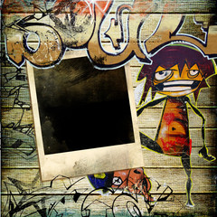 stylish vintage background with graffity and instant frame